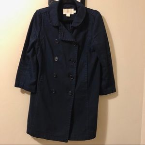J.Crew Classic Twill Chino Coat Size-8,Color-Navy